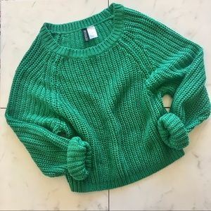 h&m / divided knit crew neck green sweater xsmall